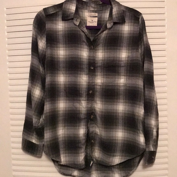 27c284ff American Eagle Outfitters Tops - Soft olive green, grey and white flannel